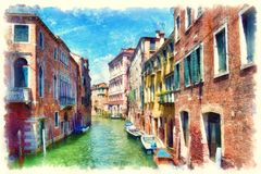 Colorful facades of old medieval houses over a canal in Venice Stock Photo