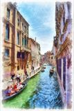 Picturesque view of Venetian canal watercolor painting. Picturesque view of narrow Venetian canal with gondolas, watercolor painting. Colorful facades of old Stock Photography