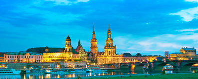 The picturesque view of old Dresden over the river Elbe in eveni Stock Image