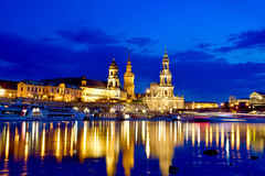 The picturesque view of old Dresden over the river Elbe in eveni Royalty Free Stock Images