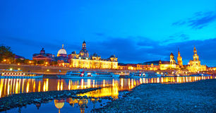 The picturesque view of old Dresden over the river Elbe in eveni Stock Photography