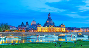 The picturesque view of old Dresden over the river  Elbe in the Stock Photo