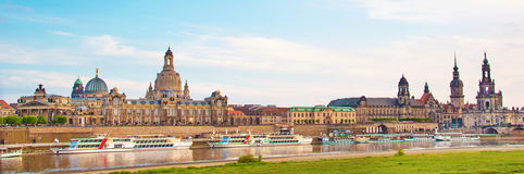 The picturesque view of old Dresden over the river Elbe. Saxony, Royalty Free Stock Images