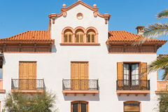Picturesque view of old houses in Sitges, Catalonia Royalty Free Stock Image