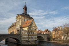 Picturesque view of the old Town Hall Altes Rathaus with two bridges over the Regnitz River of Bamberg. Germany Bavaria. Picturesque view of the old Town Hall royalty free stock photography