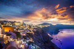 Old Town of Oia or Ia on the island Santorini Stock Image