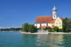 Picturesque View On Picturesque View On Church In Wasserburg On Lake Bodensee, Germany Royalty Free Stock Photo