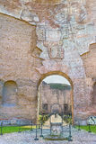 Picturesque view on passage to Frigidarium in the ruins the ancient roman Baths of Caracalla ( Thermae Antoninianae ) Royalty Free Stock Photos