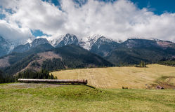 Picturesque view of piste and High Tatras in springtime Royalty Free Stock Photography