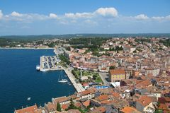 Picturesque view of the port in Rovinj, Istra, Croatia royalty free stock photos