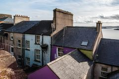 Picturesque view of roof of old houses in    Irish coastal town. Picturesque view of roof of old houses in   small Irish coastal town Stock Photos