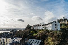 Picturesque view of the Irish city of Cobh. Picturesque view of row houses in Cobh, a small Irish coastal town Stock Image