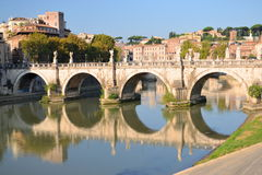 Picturesque view of Saint Angel Bridge over the Tiber river in Rome, Italy Royalty Free Stock Images