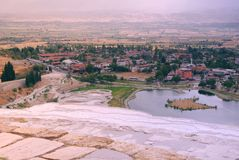 Picturesque view from the salt mountain in Turkey to the city in summer stock images