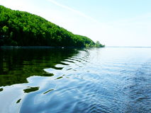 A picturesque view of the shore of the Volga, taken from the boat. Royalty Free Stock Images