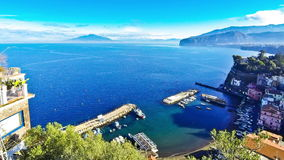 Picturesque view of Sorrento coastline and Gulf of Naples stock video
