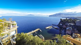 Picturesque view of Sorrento coastline, Gulf of Naples and Vesuvius stock video footage