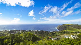 Picturesque view of South coast of Sao Miguel island near Ague de Pau village, Azores, Portugal stock video footage
