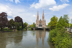 Picturesque view of St. Paul church and Ill river in Strasbourg, Royalty Free Stock Images
