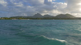 Picturesque view of strand and Indian Ocean from yacht, Mauritius Island stock video