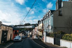 Picturesque view of street of small irish coastal town Royalty Free Stock Photography