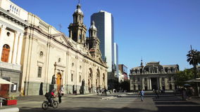 Picturesque view in Sunny day Plaza de Armas in the city center. Santiago, Chile stock footage