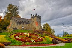 Picturesque view to former royal castle in Nowy Sacz, Poland at autumn day stock image