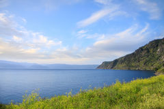 Picturesque view to lake Baikal and hills. Beauty of nature Royalty Free Stock Image