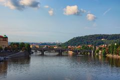 A picturesque view to the Manes Bridge, Charles Bridge and the Vltava River from the Svatopluk Cech Bridge Cech Bridge Royalty Free Stock Photos