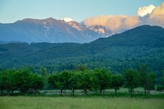 A picturesque view to a mountain area with some greeness.  Royalty Free Stock Images