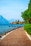 Picturesque view to old town Malcesine Garda Royalty Free Stock Photos