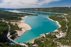 Picturesque view to Saint Croix lake at the end of Verdon river in Provence Royalty Free Stock Images