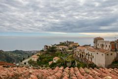Picturesque view to the sea from Forza d `Agró in Sicily, Italy, stock photos