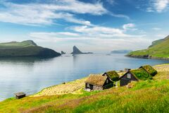 Picturesque view of tradicional faroese grass-covered houses