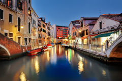 Picturesque view of venetian canal at night, Venice, Italy Royalty Free Stock Photos