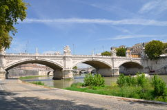 Picturesque view of Vittorio Emanuelle II Bridge over the Tiber river in Rome, Italy Royalty Free Stock Images
