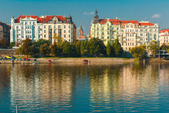 Picturesque view of the Vltava River in Prague, Czechia Royalty Free Stock Images