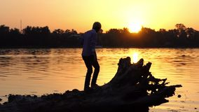 Blond man climbs the tree roots on a lake bank in slo-mo. A picturesque view of a young man who climbs the tree roots on a forest lake bank at a splendid sunset stock video