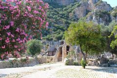 Picturesque views of the ruins of the ancient theater on the background of mountains, flowering trees with purple flowers. And fruit of oranges in Myra, Turkey Stock Photos