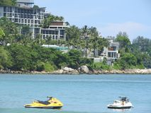 Picturesque views of the sea and the beach in Phuket, Thailand on a clear day. stock image