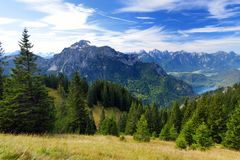 Picturesque views from the Tegelberg mountain, a part of Ammergau Alps, located nead Fussen, Bavaria, Germany. Stock Photos