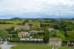 The picturesque village of of Carcassonne, surrounded by beautiful nature.France. royalty free stock image