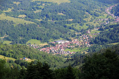 Picturesque village of mountain in Alsace. Metzeral, tourist village in the Vosges Stock Photography