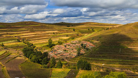 Terrace  village  valley  fall. A smalll village in the valley was shot in ZhangJiaKou ,HeBei province,china Stock Photography