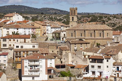 Picturesque village in Spain with gothic church. Albentosa, Teru Royalty Free Stock Photos