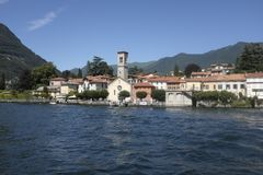 The picturesque village of Torno on Lake Como. Panoramic view of the picturesque village of Torno on Lake Como east branch Stock Images