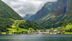 The Picturesque village of Undredal, Norway. The Picturesque village of Undredal seen from the Aurlandsfjord, Norway Royalty Free Stock Photo