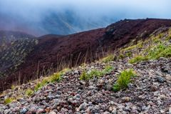 Picturesque volcanic landscape of Mount Etna, Etna national park, Sicily, Italy royalty free stock photo