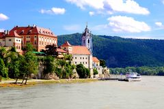 Picturesque Wachau Valley. Village of Durnstein along the Danube, Wachau Valley, Austria Royalty Free Stock Images