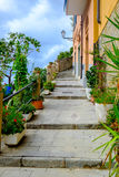 Picturesque walking alley climbing up in Riomaggiore, Cinque Ter Royalty Free Stock Photo